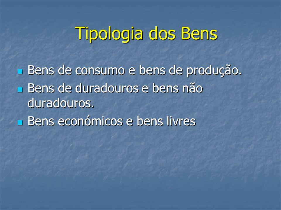 Tipologia dos Bens Bens de consumo e bens de produção.