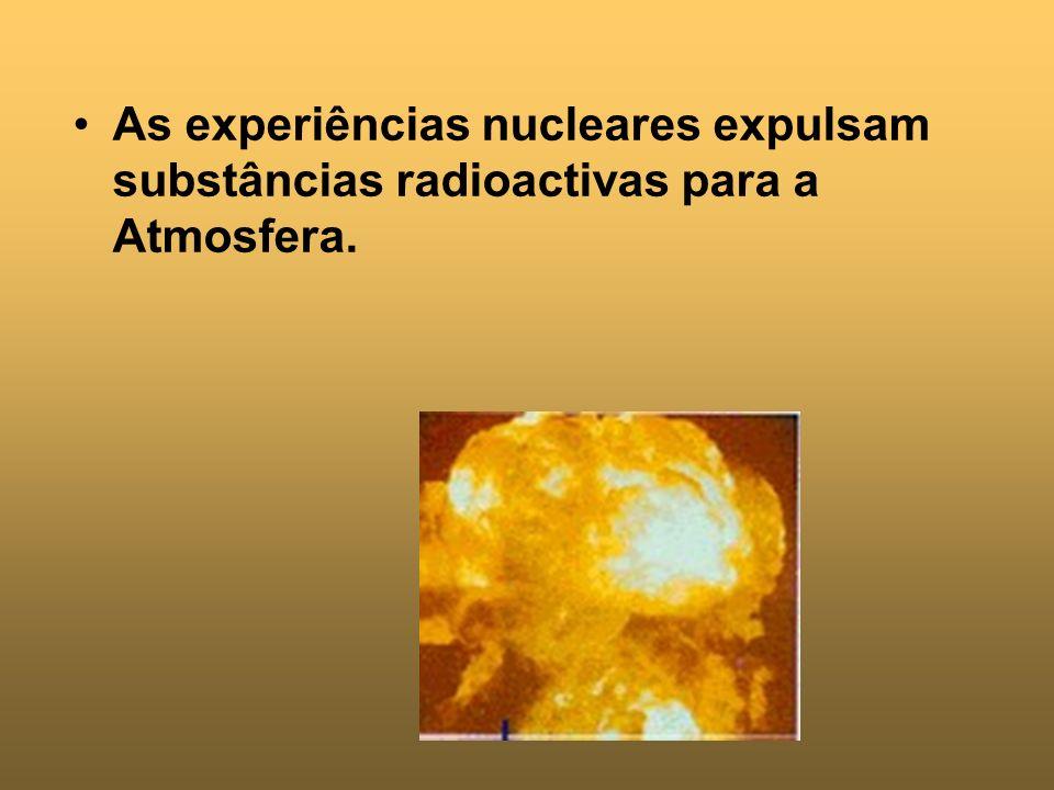 As experiências nucleares expulsam substâncias radioactivas para a Atmosfera.
