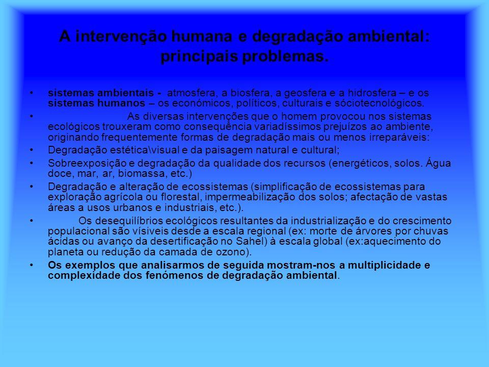 A intervenção humana e degradação ambiental: principais problemas.