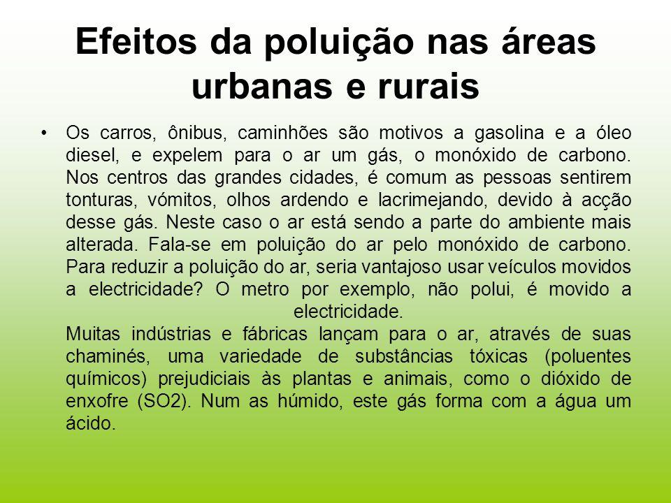Efeitos da poluição nas áreas urbanas e rurais