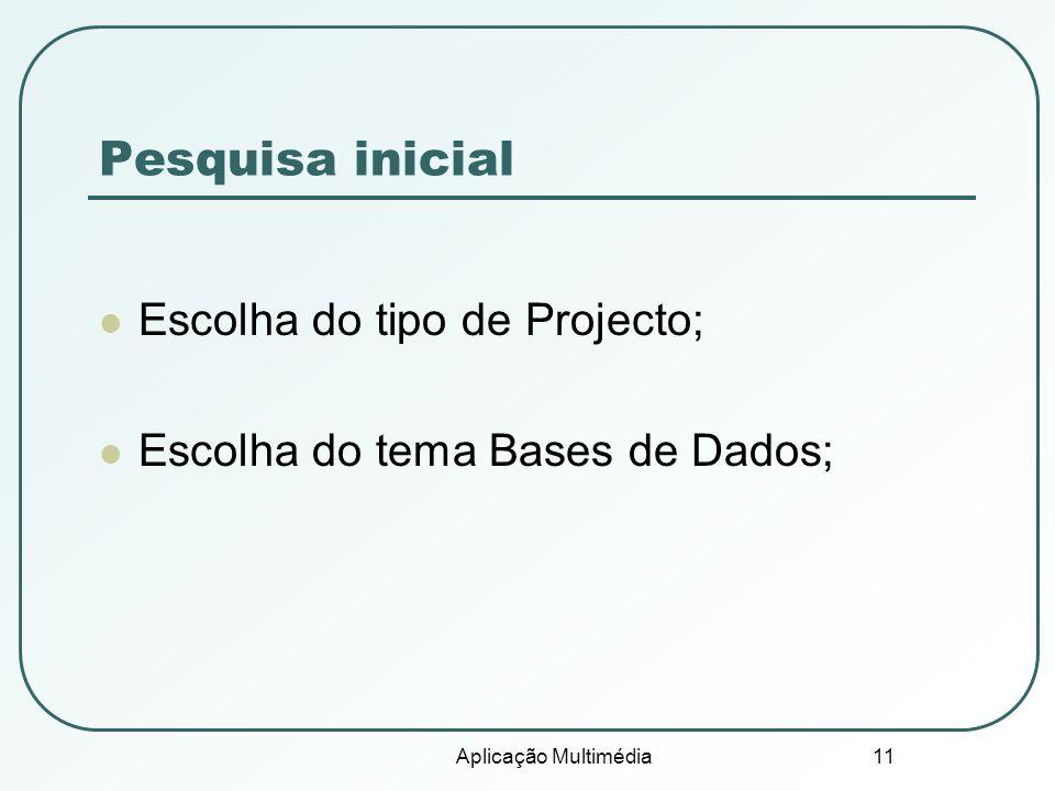Pesquisa inicial Escolha do tipo de Projecto;