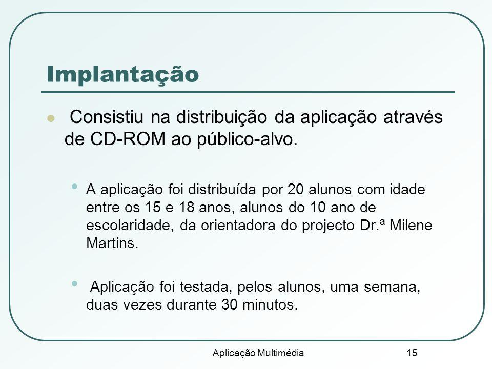 Implantação Consistiu na distribuição da aplicação através de CD-ROM ao público-alvo.