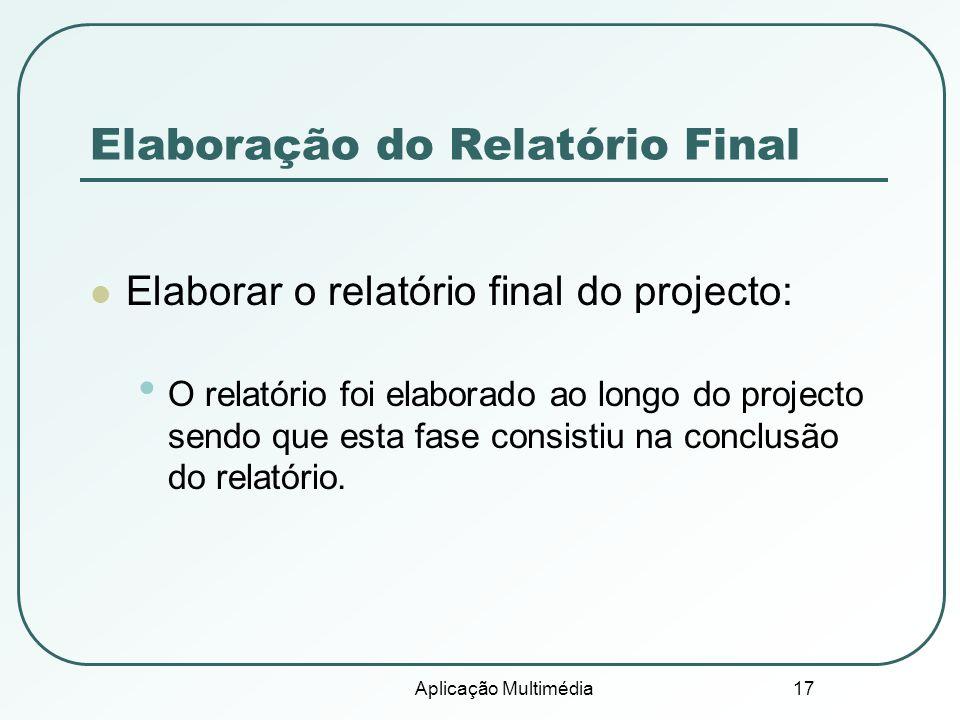 Elaboração do Relatório Final