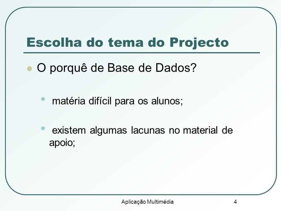 Escolha do tema do Projecto
