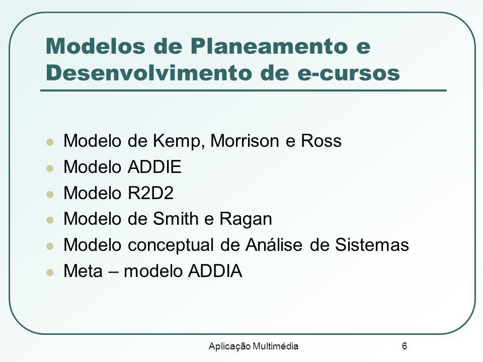 Modelos de Planeamento e Desenvolvimento de e-cursos