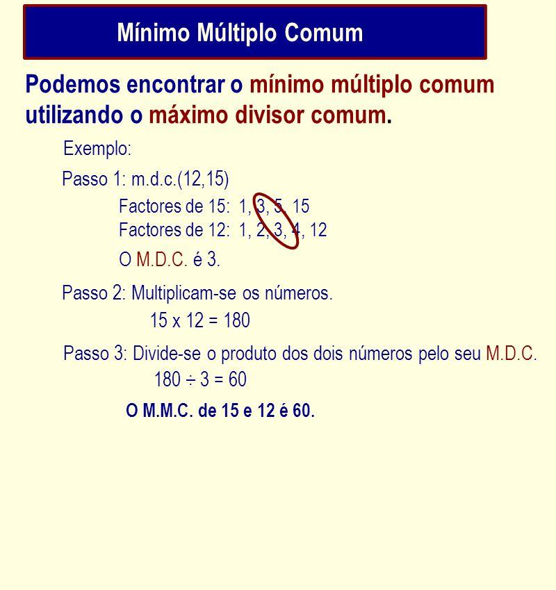 Mínimo Múltiplo ComumPodemos encontrar o mínimo múltiplo comum utilizando o máximo divisor comum. Exemplo: