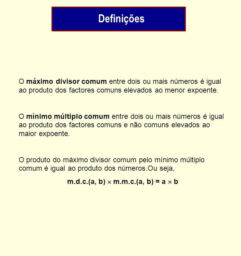 Definições O máximo divisor comum entre dois ou mais números é igual ao produto dos factores comuns elevados ao menor expoente.