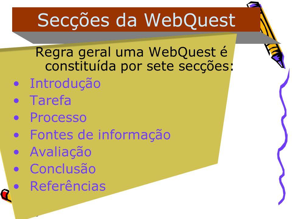 Regra geral uma WebQuest é constituída por sete secções: