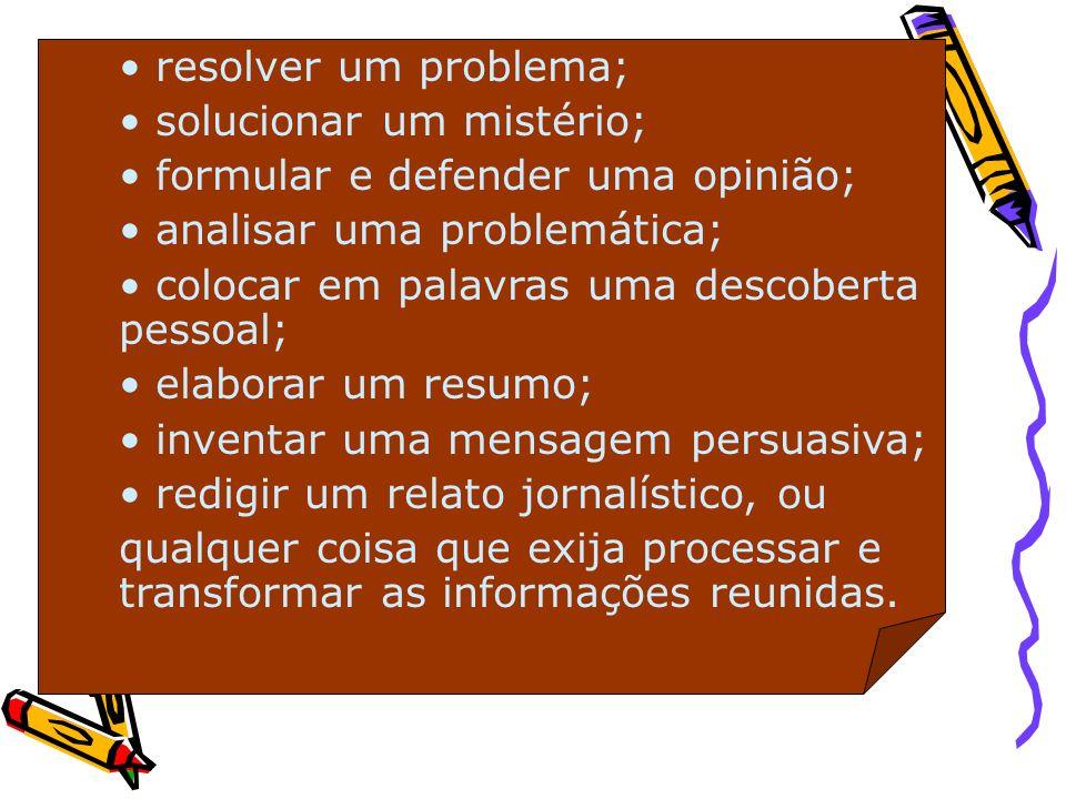 resolver um problema;solucionar um mistério; formular e defender uma opinião; analisar uma problemática;