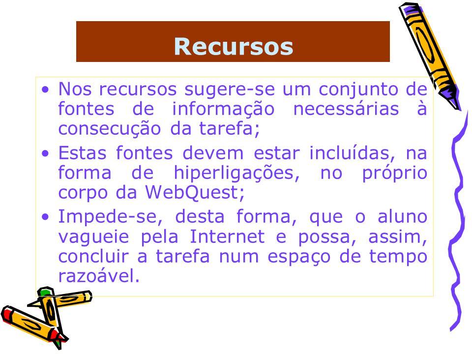 Recursos Nos recursos sugere-se um conjunto de fontes de informação necessárias à consecução da tarefa;