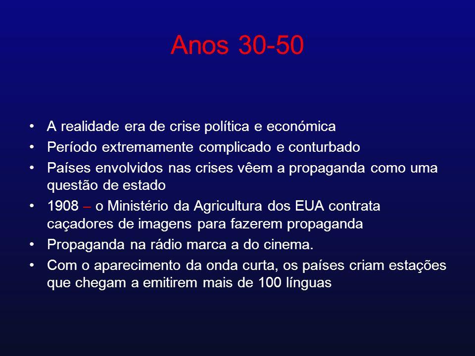 Anos 30-50 A realidade era de crise política e económica