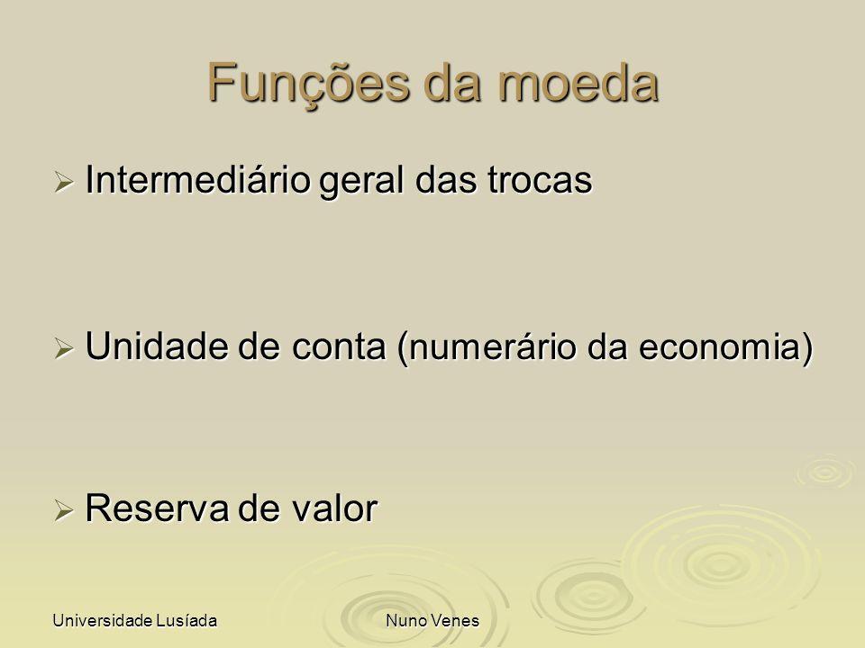 Funções da moeda Intermediário geral das trocas