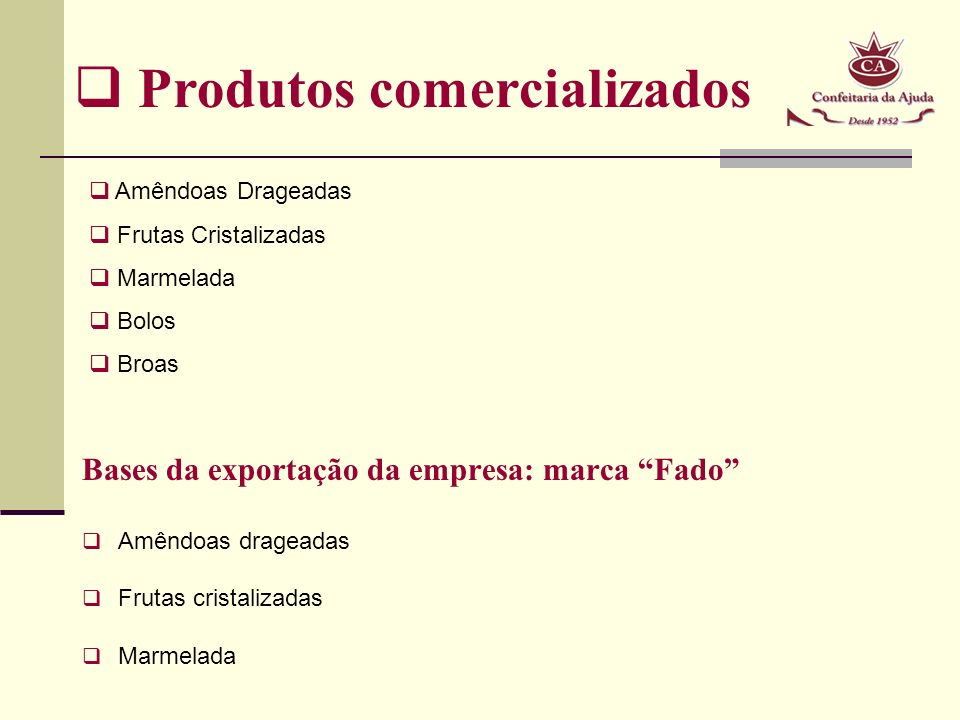 Produtos comercializados