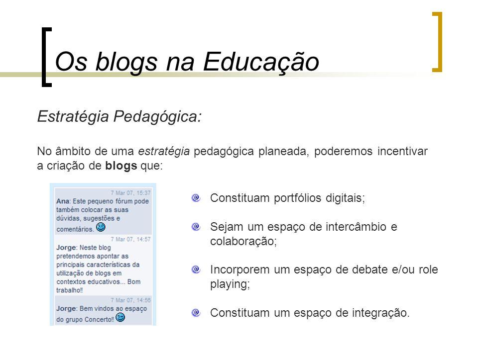 Os blogs na Educação Estratégia Pedagógica: