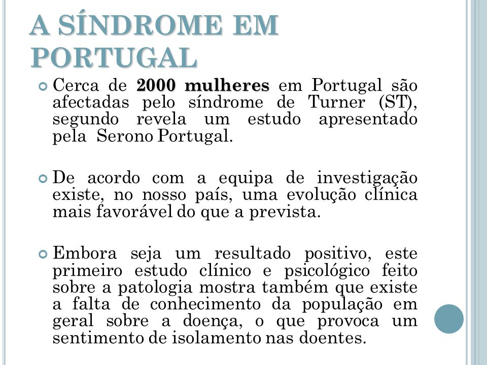 A SÍNDROME EM PORTUGAL