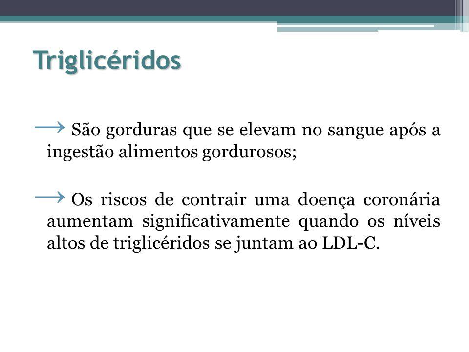 Triglicéridos São gorduras que se elevam no sangue após a ingestão alimentos gordurosos;