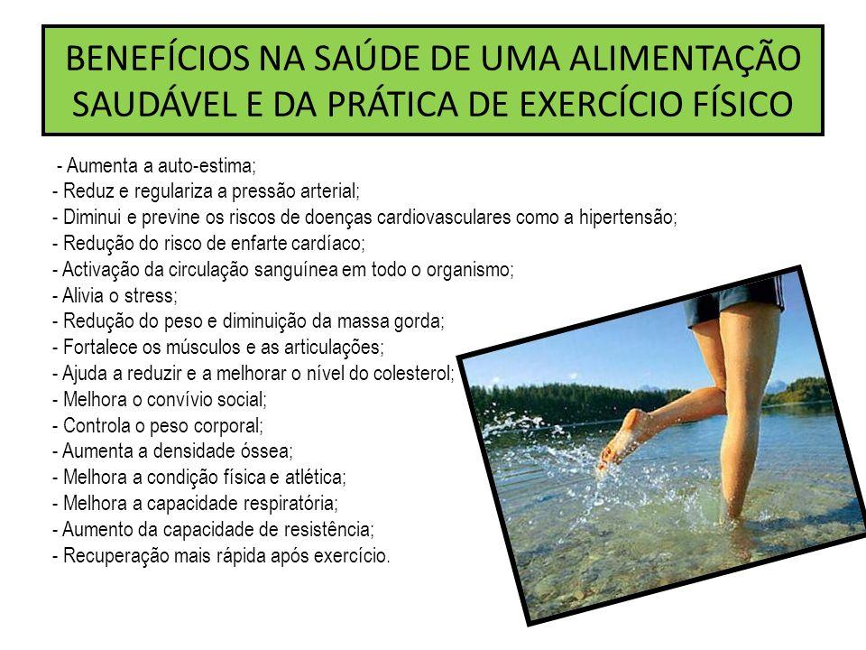BENEFÍCIOS NA SAÚDE DE UMA ALIMENTAÇÃO SAUDÁVEL E DA PRÁTICA DE EXERCÍCIO FÍSICO
