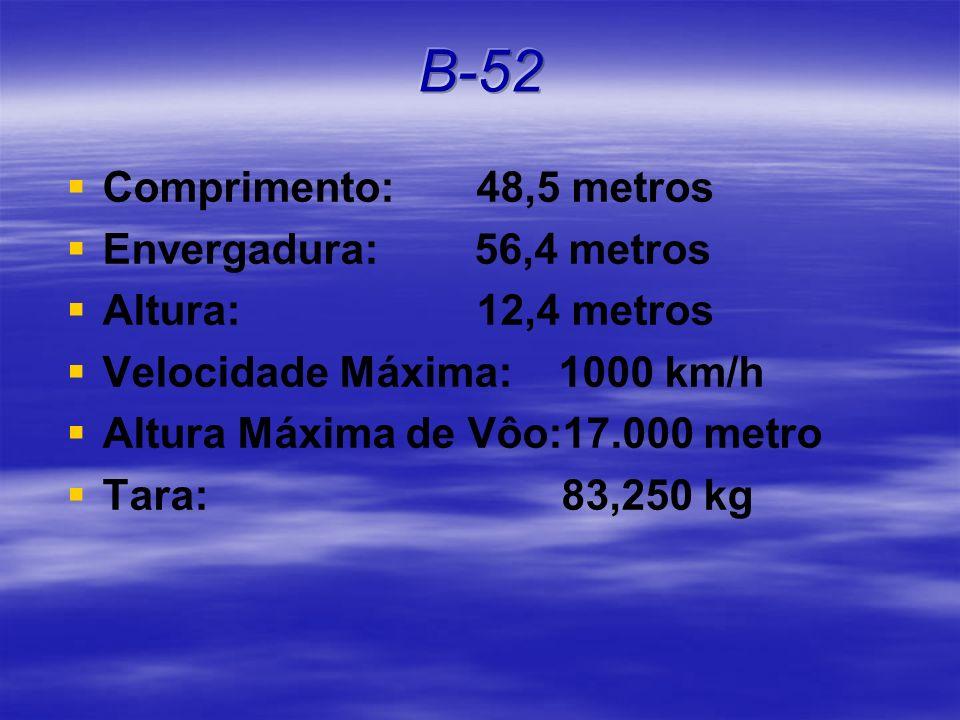 B-52 Comprimento: 48,5 metros Envergadura: 56,4 metros