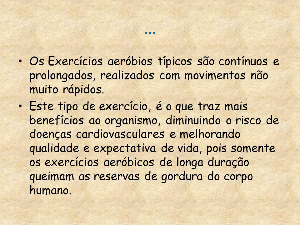 … Os Exercícios aeróbios típicos são contínuos e prolongados, realizados com movimentos não muito rápidos.