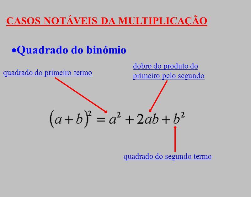 Quadrado do binómio CASOS NOTÁVEIS DA MULTIPLICAÇÃO