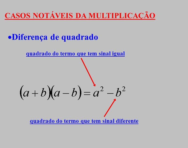Diferença de quadrado CASOS NOTÁVEIS DA MULTIPLICAÇÃO