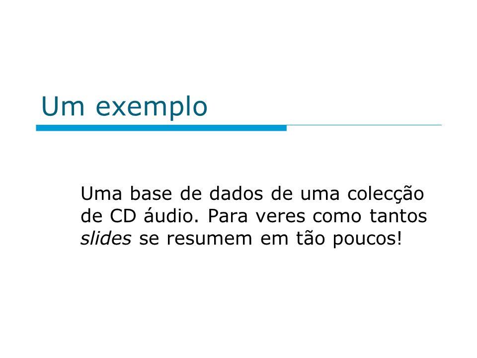 Um exemplo Uma base de dados de uma colecção de CD áudio.