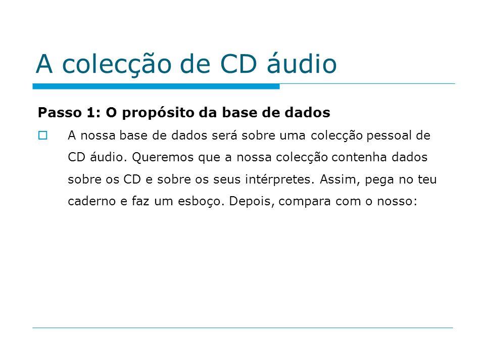 A colecção de CD áudio Passo 1: O propósito da base de dados