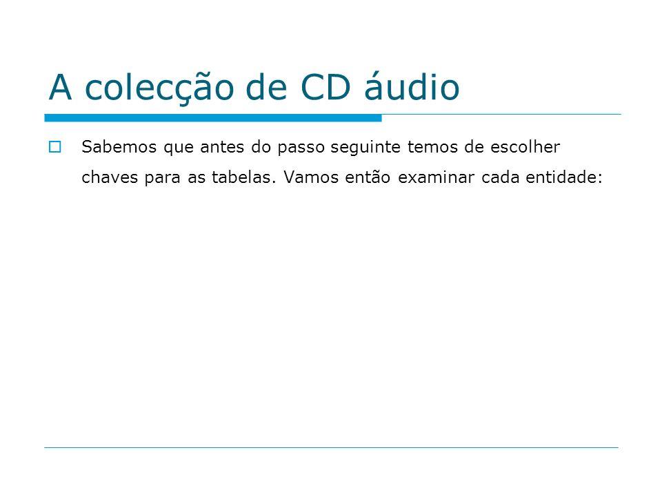 A colecção de CD áudio Sabemos que antes do passo seguinte temos de escolher chaves para as tabelas.