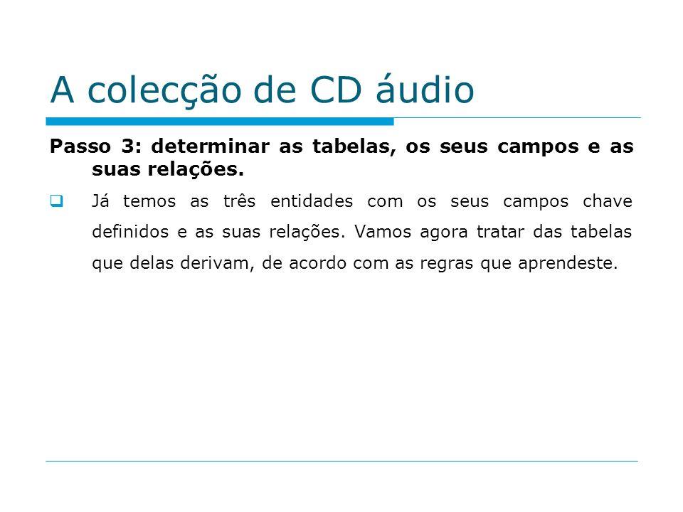 A colecção de CD áudio Passo 3: determinar as tabelas, os seus campos e as suas relações.