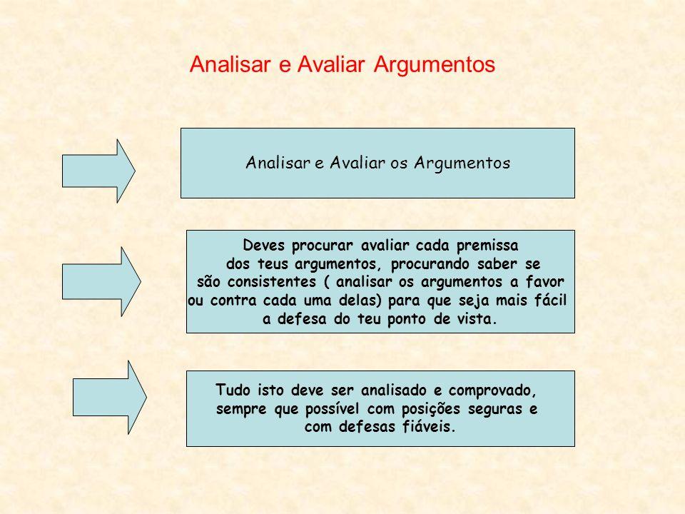 Analisar e Avaliar Argumentos