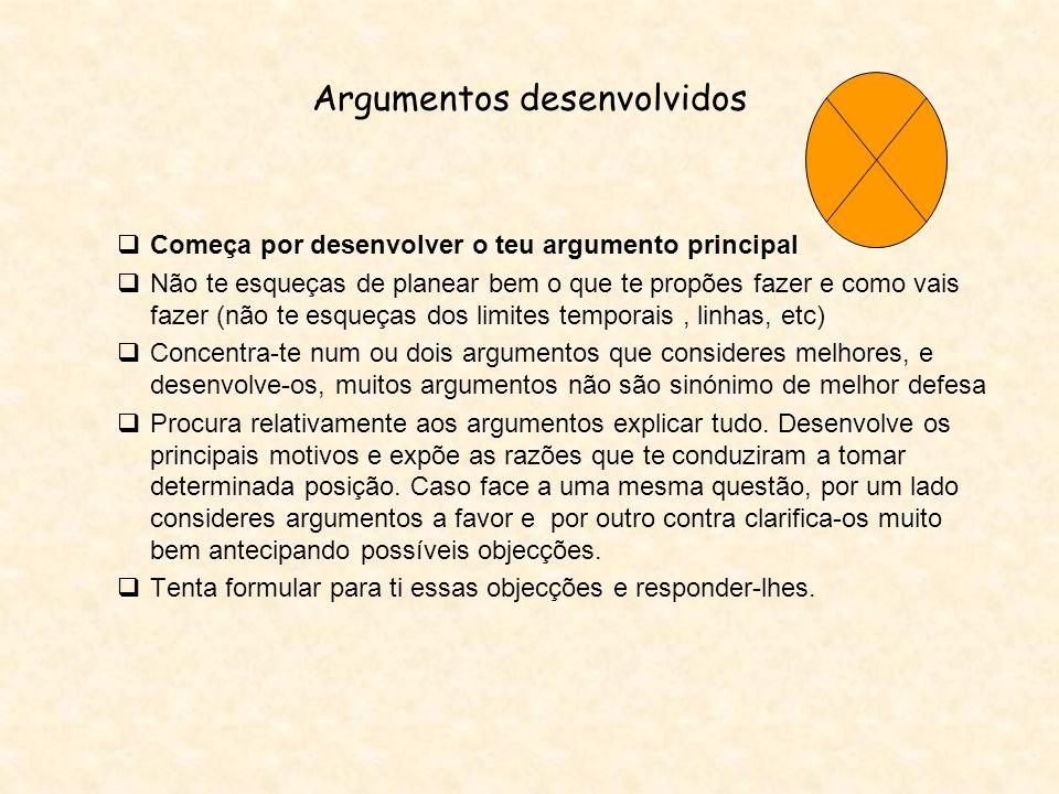 Argumentos desenvolvidos