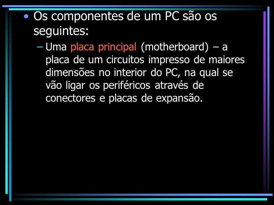 Os componentes de um PC são os seguintes: