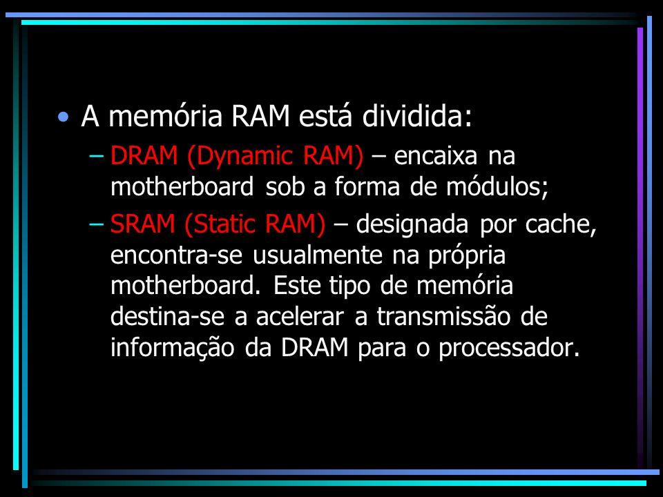 A memória RAM está dividida: