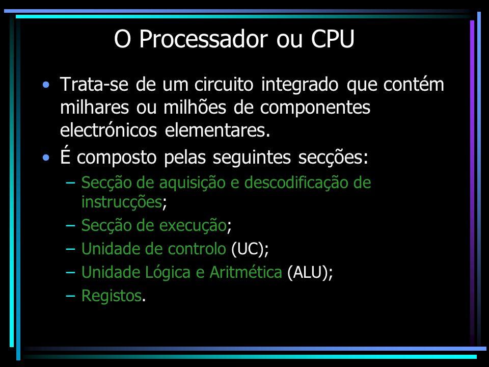 O Processador ou CPU Trata-se de um circuito integrado que contém milhares ou milhões de componentes electrónicos elementares.