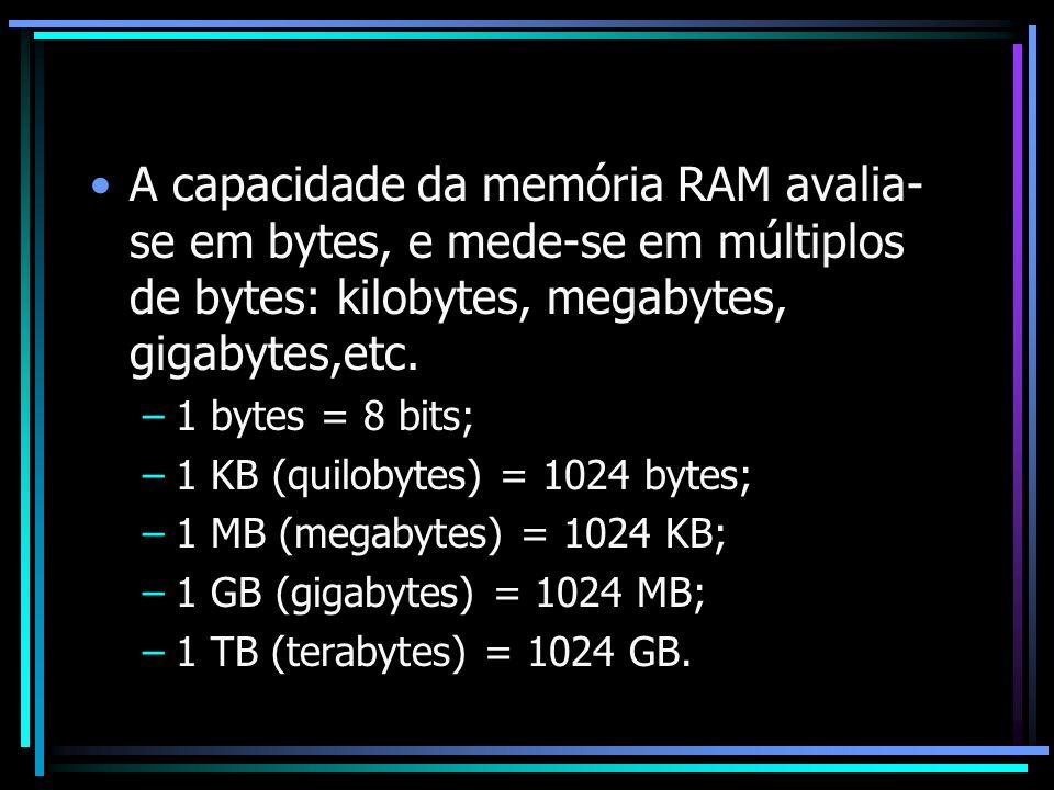 A capacidade da memória RAM avalia-se em bytes, e mede-se em múltiplos de bytes: kilobytes, megabytes, gigabytes,etc.