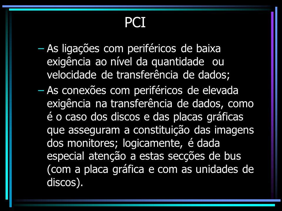 PCI As ligações com periféricos de baixa exigência ao nível da quantidade ou velocidade de transferência de dados;