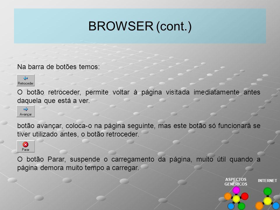 BROWSER (cont.) Na barra de botões temos: