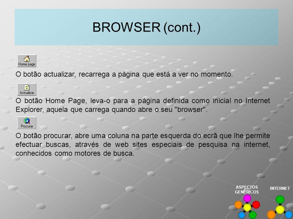 BROWSER (cont.) O botão actualizar, recarrega a página que está a ver no momento.