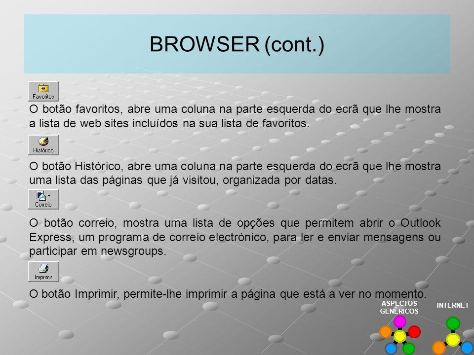 BROWSER (cont.) O botão favoritos, abre uma coluna na parte esquerda do ecrã que lhe mostra a lista de web sites incluídos na sua lista de favoritos.