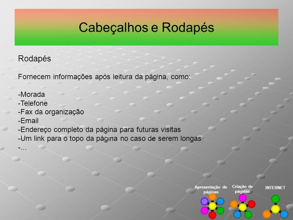 Cabeçalhos e Rodapés Rodapés