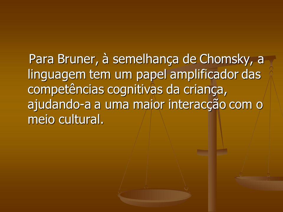 Para Bruner, à semelhança de Chomsky, a linguagem tem um papel amplificador das competências cognitivas da criança, ajudando-a a uma maior interacção com o meio cultural.