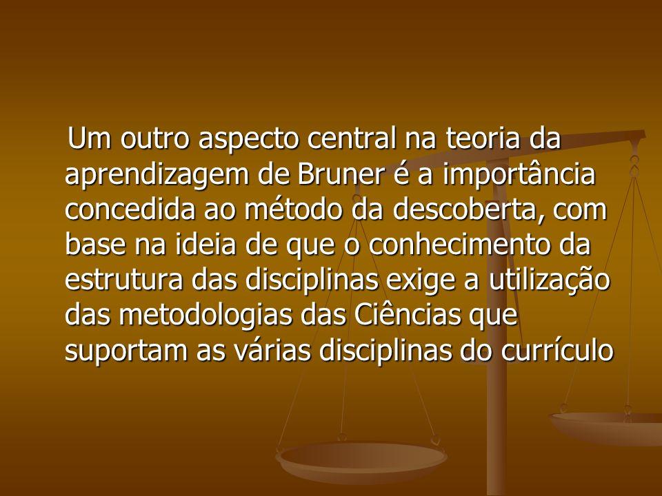 Um outro aspecto central na teoria da aprendizagem de Bruner é a importância concedida ao método da descoberta, com base na ideia de que o conhecimento da estrutura das disciplinas exige a utilização das metodologias das Ciências que suportam as várias disciplinas do currículo