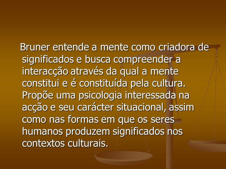 Bruner entende a mente como criadora de significados e busca compreender a interacção através da qual a mente constitui e é constituída pela cultura.