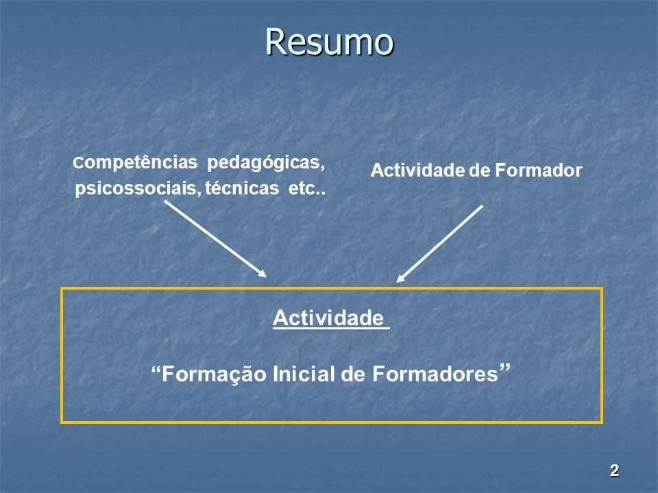 Resumo Actividade Formação Inicial de Formadores