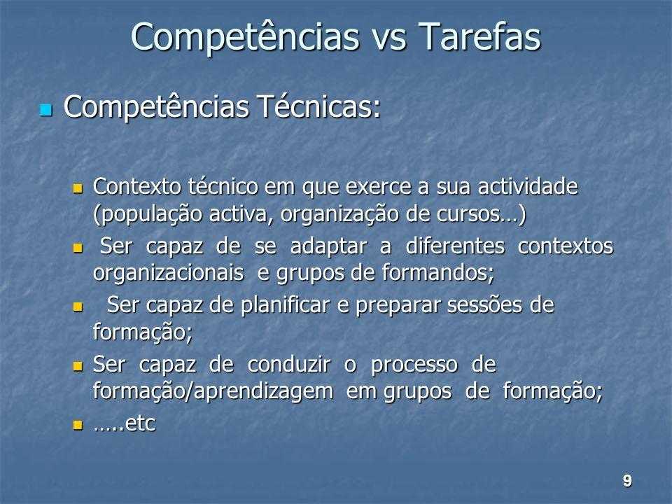 Competências vs Tarefas