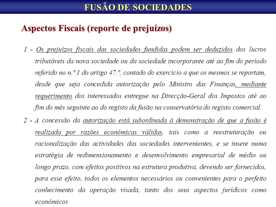 Aspectos Fiscais (reporte de prejuízos)
