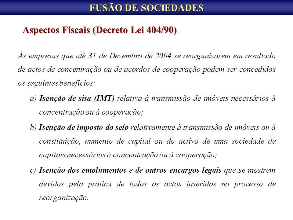 Aspectos Fiscais (Decreto Lei 404/90)