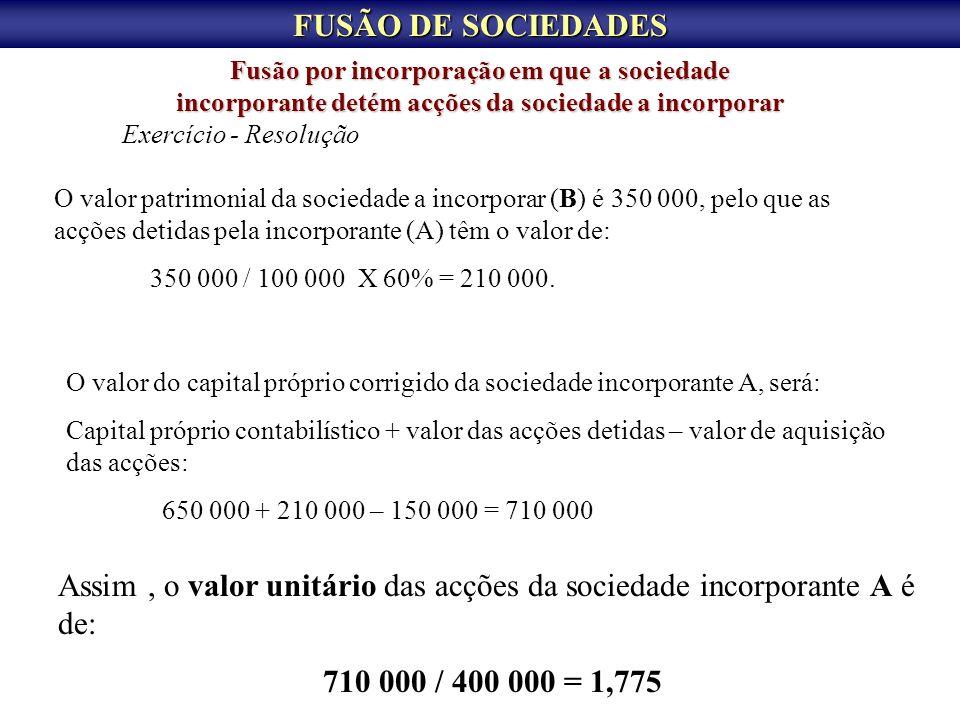 Assim , o valor unitário das acções da sociedade incorporante A é de: