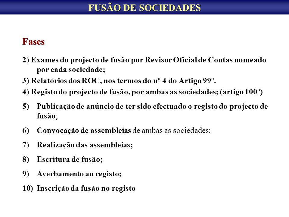 FUSÃO DE SOCIEDADES Fases