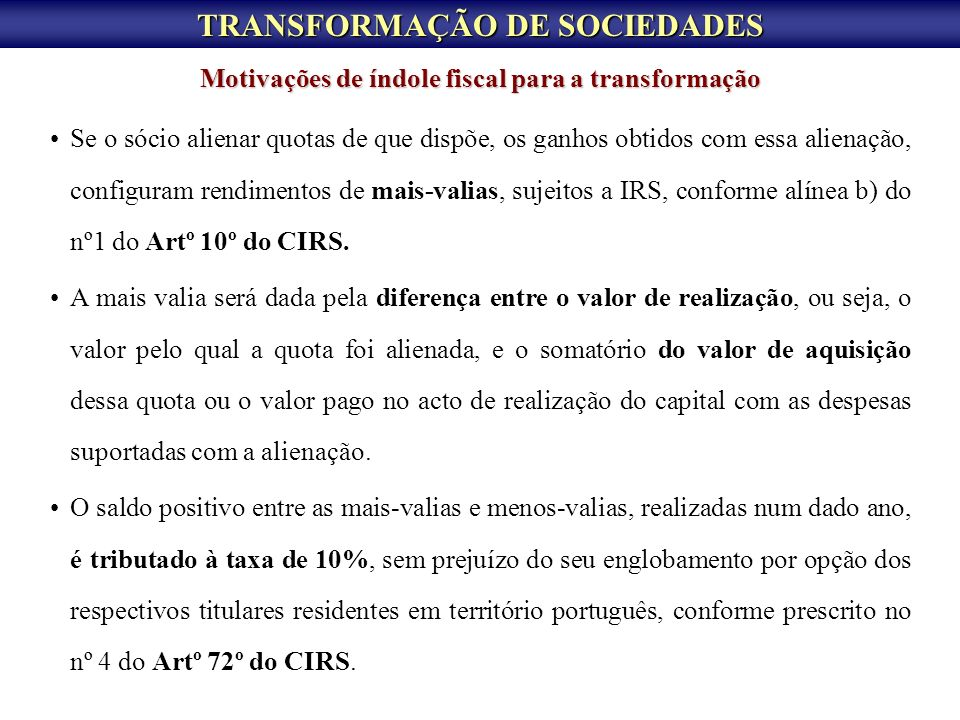 TRANSFORMAÇÃO DE SOCIEDADES
